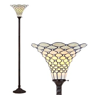"""White Tiffany-Style 70"""" Torchiere LED Floor Lamp, Bronze"""