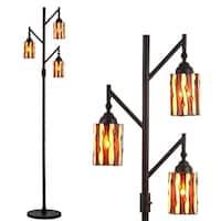 "Clark Tiffany-Style 71"" Multi-Light LED Floor Lamp, Bronze"