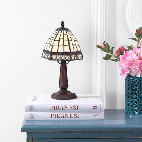 """Carter Tiffany-Style 12"""" LED Table Lamp, Bronze by JONATHAN Y"""