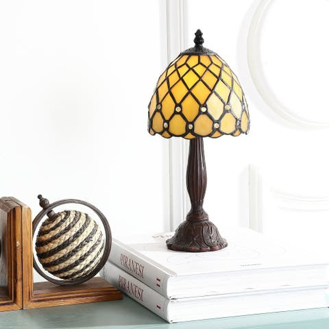 """Campbell Tiffany-Style 12.5"""" LED Table Lamp, Bronze by JONATHAN Y"""