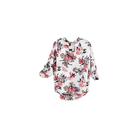 White Floral Printed V-Neck Crepe Long Back Chiffon Blouse
