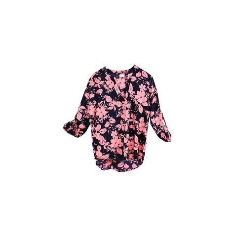 Black Pink Floral Printed V-Neck Crepe Long Back Chiffon Blouse