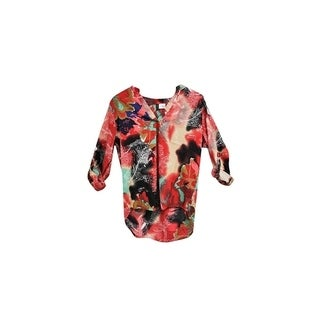 Multi Color Floral Printed V-Neck Crepe Long Back Chiffon Blouse