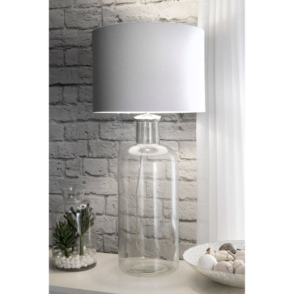 "Watch Hill 14"" Ella Clear Glass Cotton Shade Clear Table Lamp"