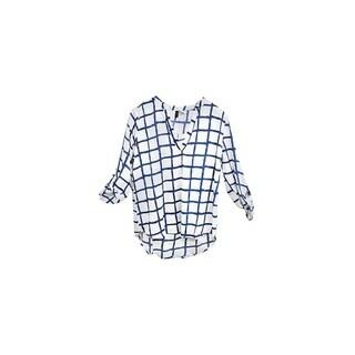 White and Blue Checkered V-Neck Crepe Long Back Chiffon Blouse