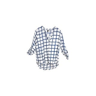 White and Blue Checkered V-Neck Crepe Long Back Chiffon Blouse (2 options available)