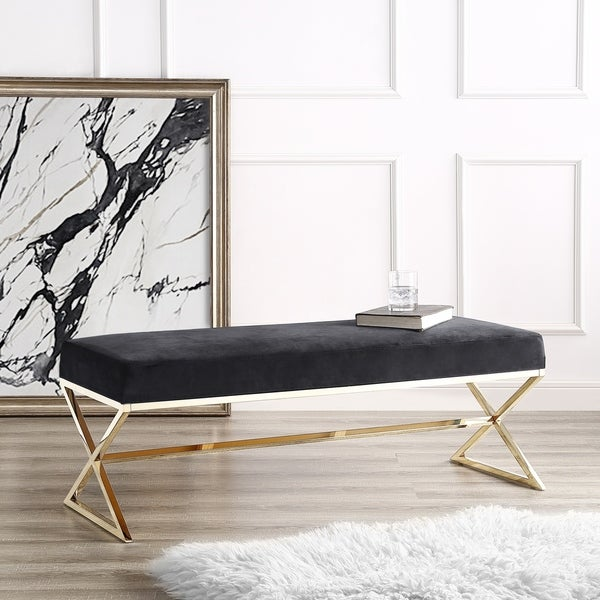 Della Entryway Velvet Bench with Gold or Chrome X-Legs. Opens flyout.