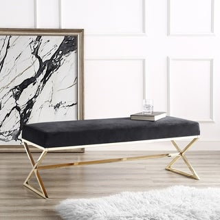 Della Entryway Velvet X-Leg Gold/Chrome Base Bench