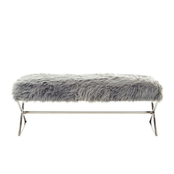 Phenomenal Shop Della Entryway Faux Fur Bench With Gold Or Chrome X Squirreltailoven Fun Painted Chair Ideas Images Squirreltailovenorg