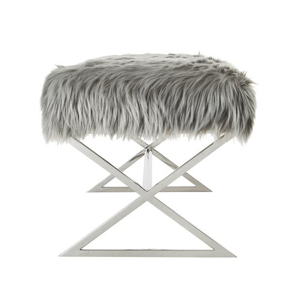 Fabulous Shop Della Entryway Faux Fur Bench With Gold Or Chrome X Andrewgaddart Wooden Chair Designs For Living Room Andrewgaddartcom