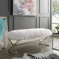 Della Entryway Faux Fur Bench with Gold or Chrome  X-Legs