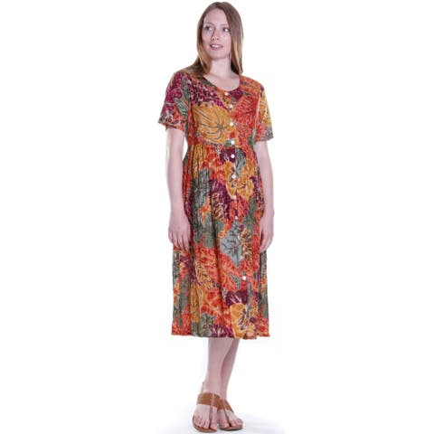 La Cera Women's Button-Up Printed Rayon Dress