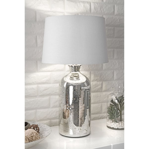 "Watch Hill 28"" Isabella Mercury Glass Cotton Shade Silver Table Lamp"