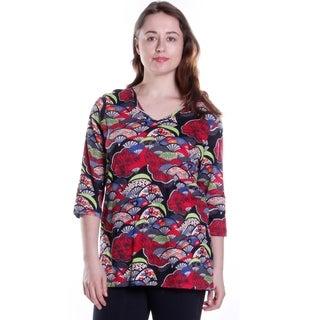 La Cera Women's Printed Cotton Knit Top