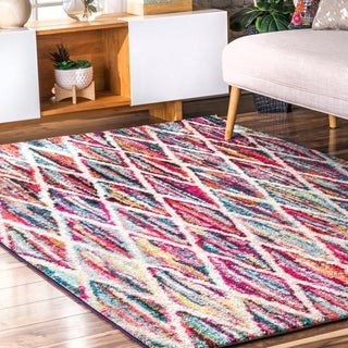 "nuLOOM Multi Kids Contemporary Rainbow Striped Trellis Area Rug (6' 7 x 9') - 6'7"" x 9'"
