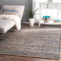 The Curated Nomad Konoval Natural Fiber Jute and Denim Handmade Flatweave Area Rug - 6' x 9'