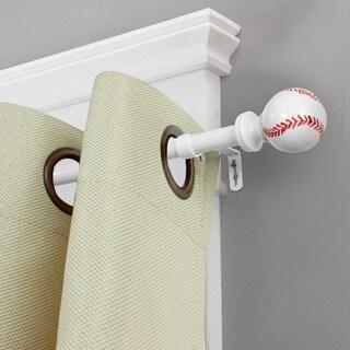 H.Versailtex Curtain Rod Set Baseball Finials Children Room Decor