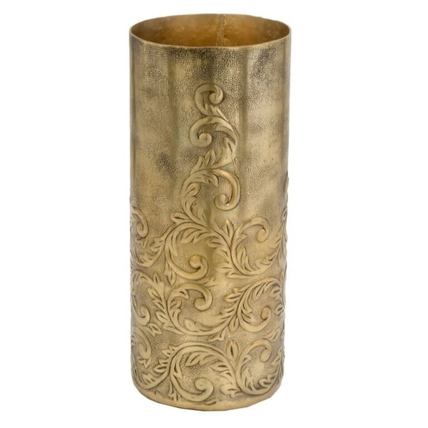 Shop Cachemir Sm Ant Gold Cylinder Vase Free Shipping Today