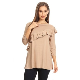 Women's Solid Top with Ruffled Layer Front