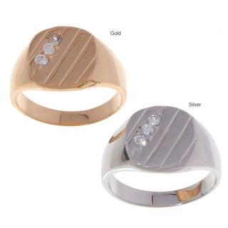 Icz Stonez Men's Sterling Silver/ 18k Gold over Silver CZ Ring