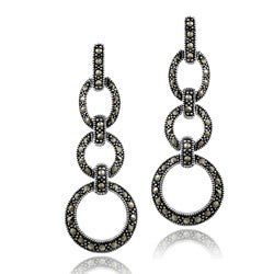 Glitzy Rocks Sterling Silver Marcasite Circle Drop Earrings