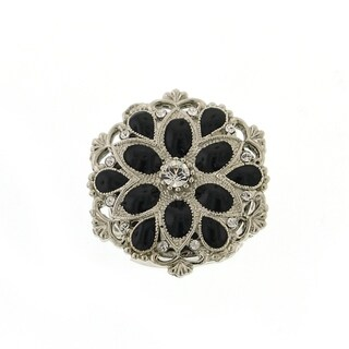 1928 Jewelry Silver Tone Crystal and Black Enamel Round Stretch Ring