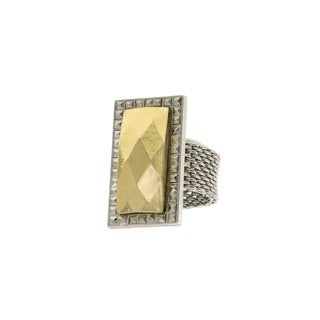 1928 Jewelry Silver Tone and Gold Tone Mesh Ring Size 7