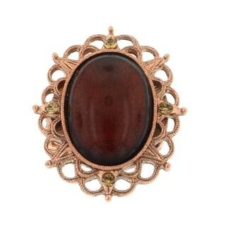 1928 Jewelry Copper Topaz Colorado Oval Stretch Ring