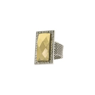 1928 Jewelry Silver Tone and Gold Tone Mesh Ring Size 8