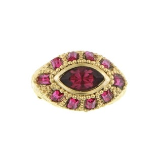 1928 Jewelry Gold Tone Swarovski Elements Amethyst and Fuchsia Ring Size 8