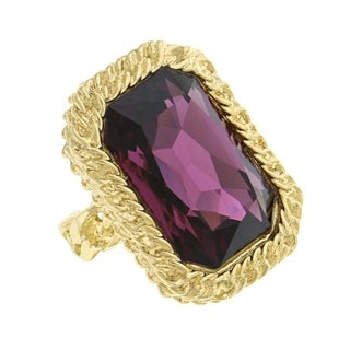 1928 Jewelry Gold Tone Swarovski Elements Amethyst Ring Size 8