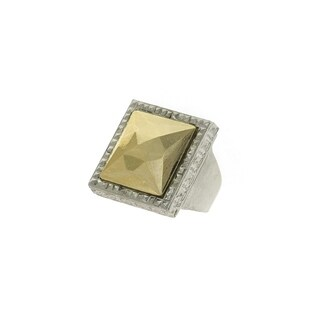 1928 Jewelry Silver Tone Square Gold Tone Stone Ring Size 7