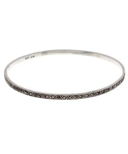 Glitzy Rocks Sterling Silver Marcasite Slip-on Bangle
