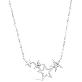 Sterling Silver 1/7 ct. TDW Diamond Stars Line Pendant Necklace