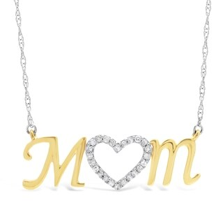 Two Tone Sterling Silver 1/7 ct. TDW Diamond Mom Pendant Necklace