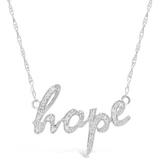 Sterling Silver 1/8 ct. TDW Diamond Hope Pendant Necklace