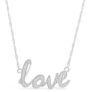 Sterling Silver 1/8 ct. TDW Diamond Love Pendant Necklace