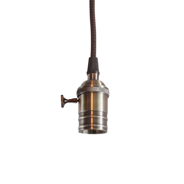 Single Light Bare Bulb Pendant with Retro Switch, Antique Brass Finish
