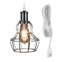 White/Grey Weave Polished Nickel Cage 17' Pendant w/Dimmable LED Bulb