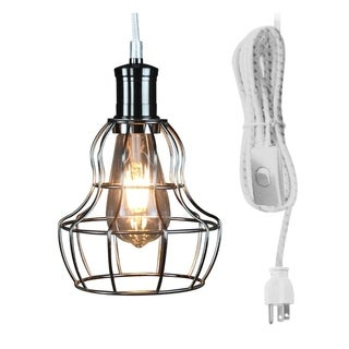 White/Grey Weave Polished Nickel Cage 17' Pendant w/Dimmable LED Bulb - Silver