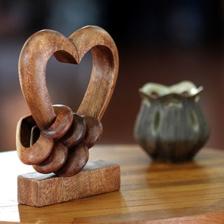 Wood Sculpture, 'Heart Power' (Indonesia)