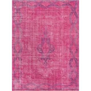 "Pasargad Vintage Magenta Overdyes Lamb's Wool Rug (9' 8"" X 13' 3"") - 10' x 14'"
