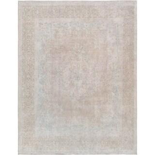 "Pasargad Vintage Overdyes Mocha Lamb's Wool Area Rug (9' 7"" X 12' 7"") - 10' x 14'"