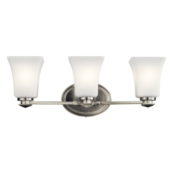 Shop Kichler Lighting Clare Collection 3 Light Brushed Nickel Bath