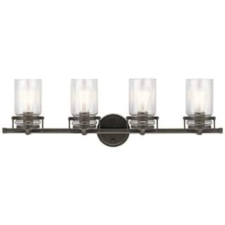 Rustic wall lights for less overstock kichler lighting brinley collection 4 light olde bronze bathvanity light mozeypictures Gallery