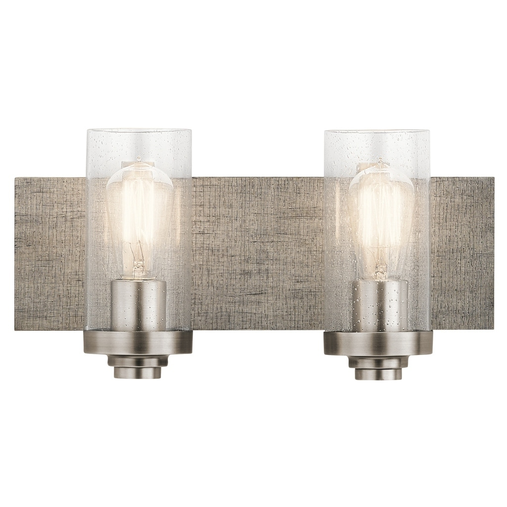 CLASSIC PEWTER 2 LIGHT BATH WITH SHADES