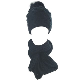 Kate Marie Unisex Warm Beanie and Scarf set with Inside Fur