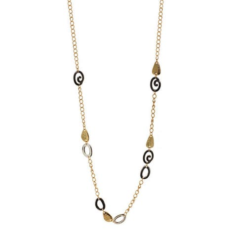 Cast Tri Tone Station Necklace - tri tone