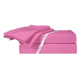 Just Linen 300 Thread Count 100-percent Cotton Sateen Solid Sheet Set with Deep Pocketed Fitted Sheet