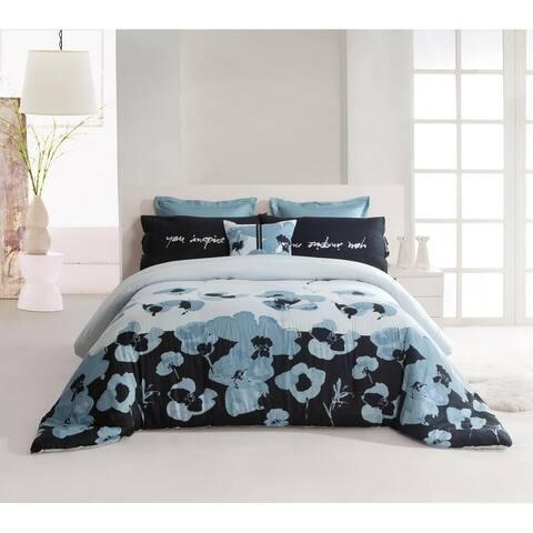 Kensie Blue Poppy 300 Thread Count Duvet Cover Set - Blue-Black
